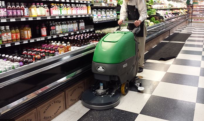One of our talented employees cleaning our store floors for your safety.